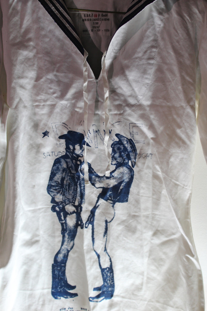 Vintage Sailor Top with Naked Cowboys Punk Screenprint