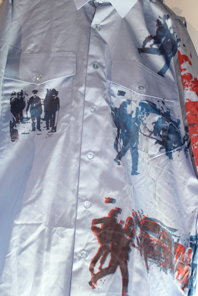 Riot!  Screenprinted Punk Button up Shirt - Blue/Red