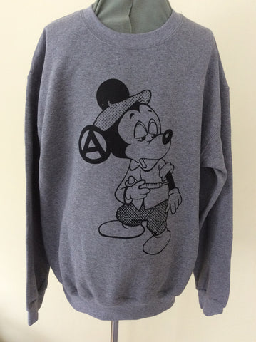 Mickey Mouse Junkie Sweatshirt Cartoon Punk Jumper S-M
