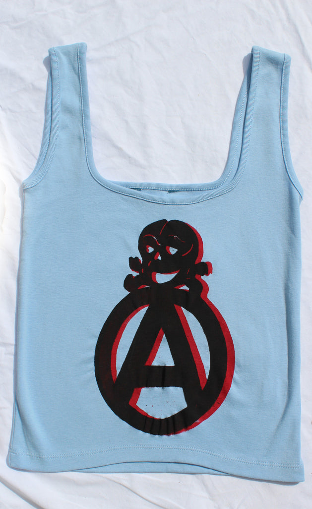 Anarchist Symbol Vest Top  - Light Blue
