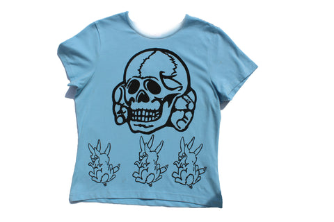 Seditionaries Skull and SEX Bunnies T-shirt  - Light Blue