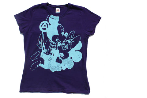 Mickey and Minnie SEX - Seditionaries Punk T-shirt -Purple fitted Tee 36""