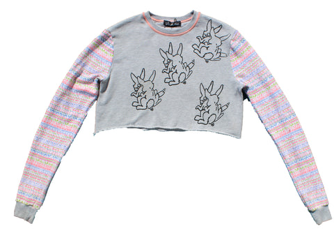 Sex Bunnies Print Crop Jumper -Grey / Patterned