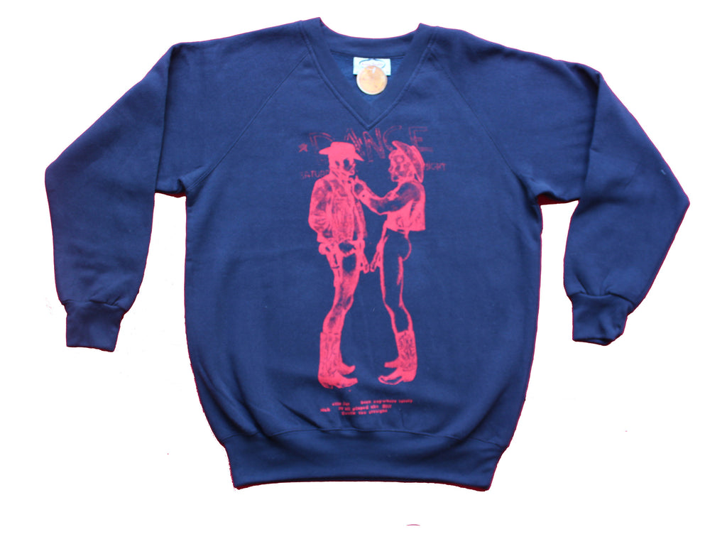 Seditionaries Naked Cowboys Navy Blue V-Neck Sweater