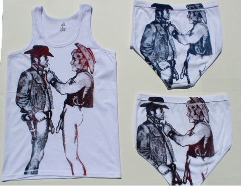 Seditionaries Two Naked COWBOYS Vest Top & Y Front Briefs -Large Print