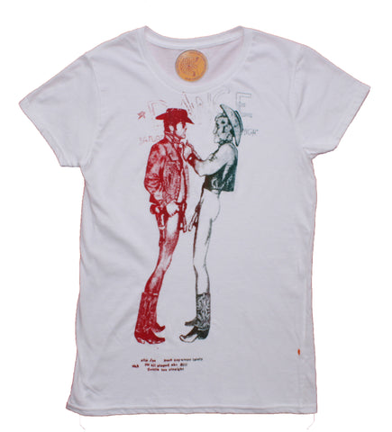 Naked Cowboys T-Shirt - Seditionaries Two Cowboys Tees Fitted Sm Med
