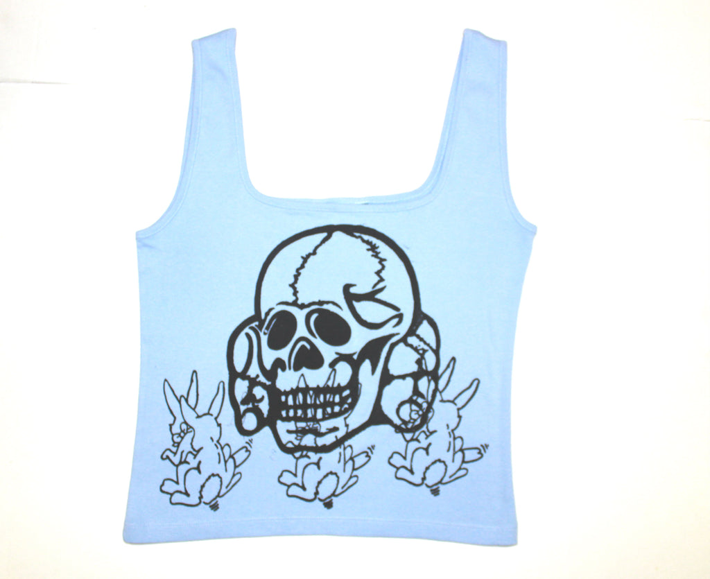 Seditionaries Skull with SEX Bunnies print Vest Top  - Light Blue