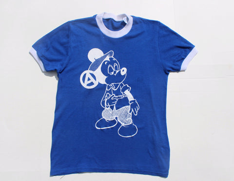 "Vintage Mickey Mouse Drug Fix T-shirt 36""/38"" Blue T-shirt"