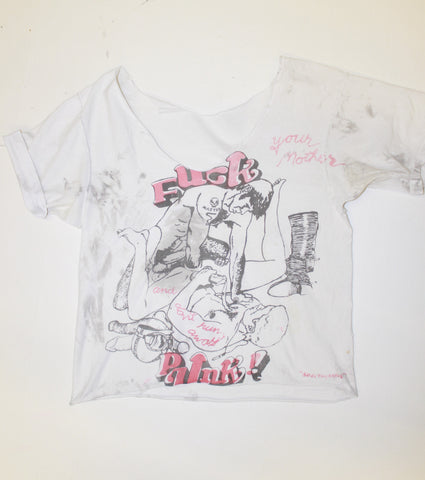 Vintage Fuck Punk Orgy print  T-Shirt  -Distressed   (nsfw)