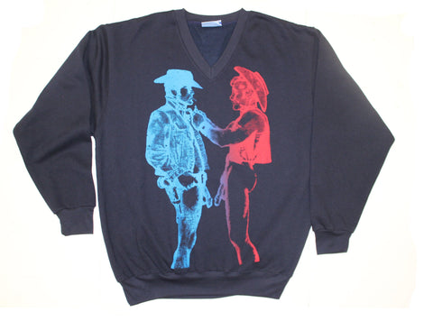 Seditionaries Naked Cowboys Navy V-Neck Sweater