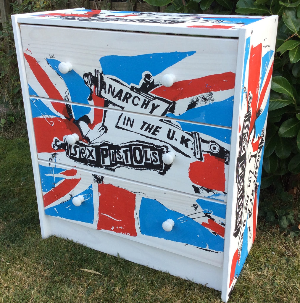 Punk Furniture Sex Pistols Chest of Drawers Anarchy in the UK God Save the Queen