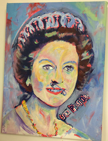"Punk Painting Sex Pistols God Save the Queen Original Artwork 12"" x 16"""