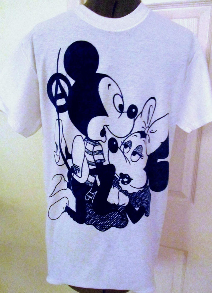 f41e728e Mickey & Minnie Mouse Sex T-shirt- Punk Cartoon Tee - Blue Print ...