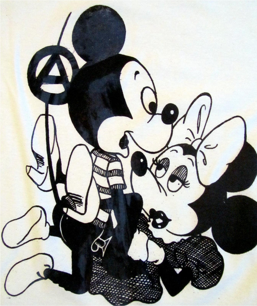 Mickey Mouse Sex T-shirt- Punk Cartoon Grey fitted Womens 32""