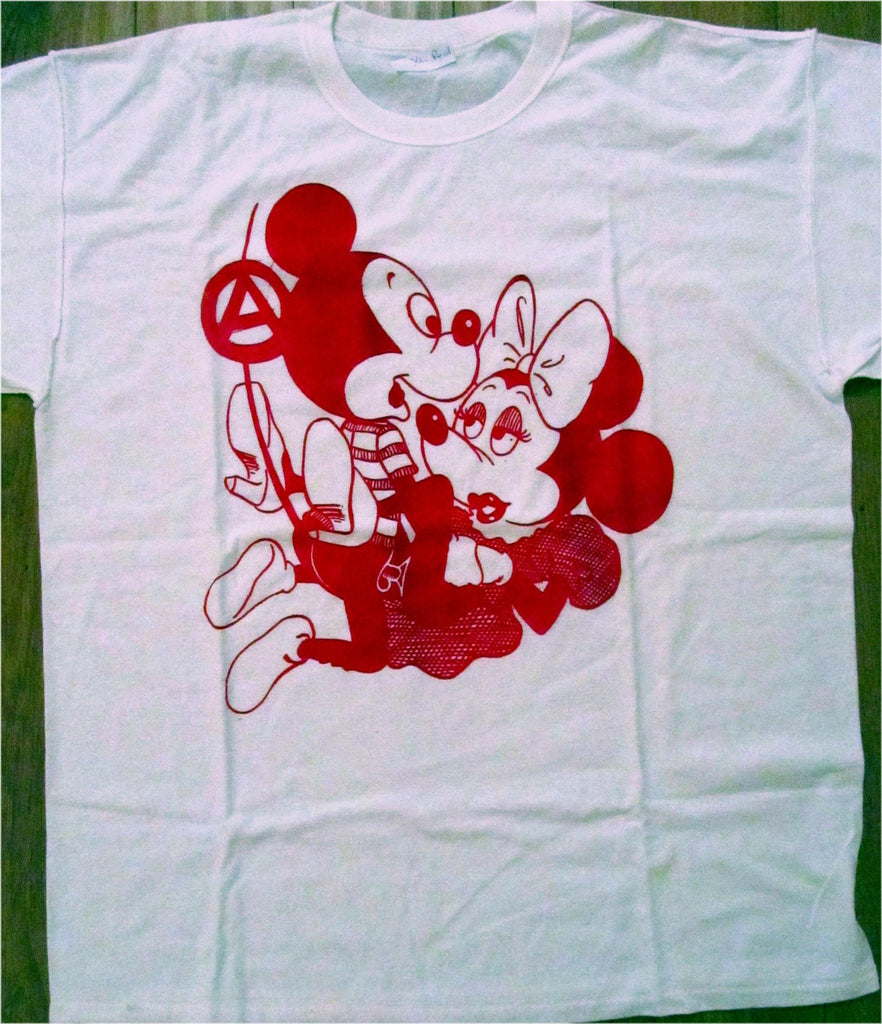 Mickey Minnie Mouse Sex Tshirt Punk Cartoon Red Print