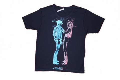 Naked Cowboys T-Shirt - Seditionaries Two Cowboys fitted Tee -Navy Blue