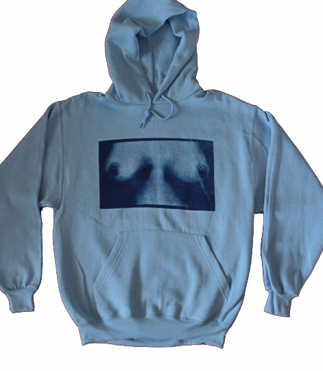 TITS Print Hoodie - Punk Boobs Print Hooded Jumper - Blue Sweater