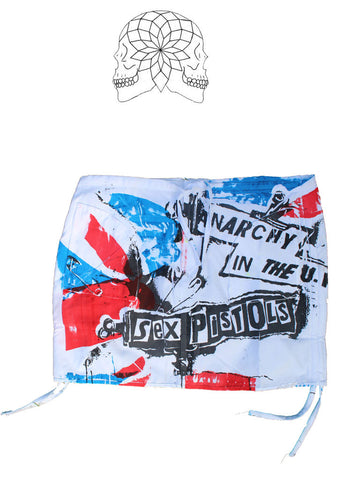 Punk Mini Skirt Anarchy in the UK Flag print - Medium Waist to 34""