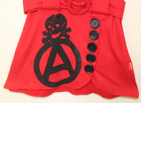 Anarchy Print Punk Dress - Red