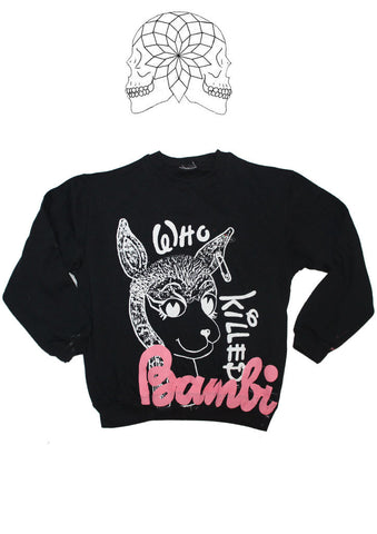 "Who Killed Bambi Sex Pistols Punk Black Sweater 30-32"" Petite size"