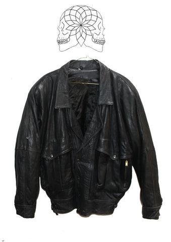 Vintage 1970s Black Leather Jacket - Biker