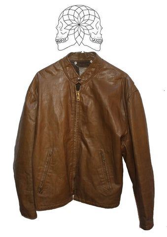 Vintage 1970s Cafe Racer Brown Leather Jacket