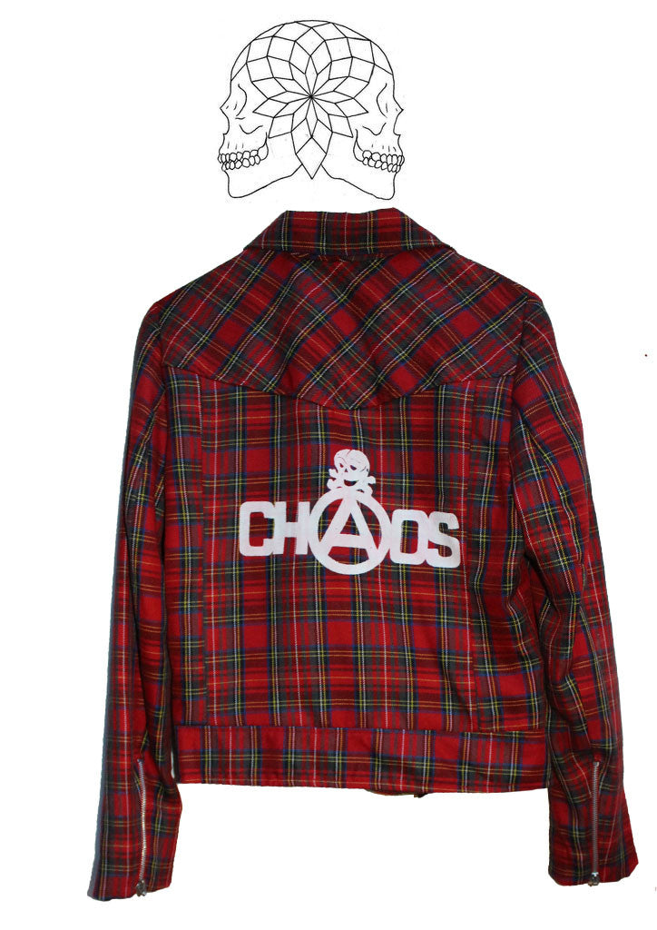 Tartan Punk Biker Jacket with Punk Chaos Print