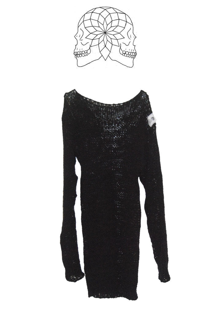 Punk Cobweb Jumper Black Oversized Loose Knit Sweater - one size