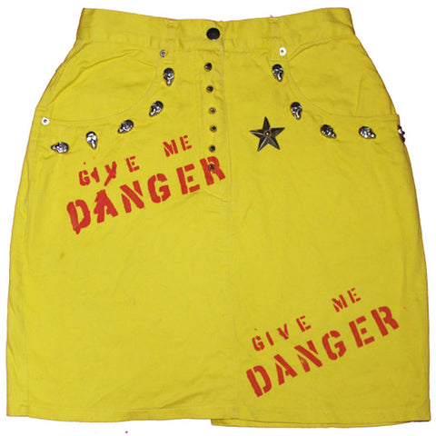 'Give Me Danger' Yellow Denim Pencil Skirt