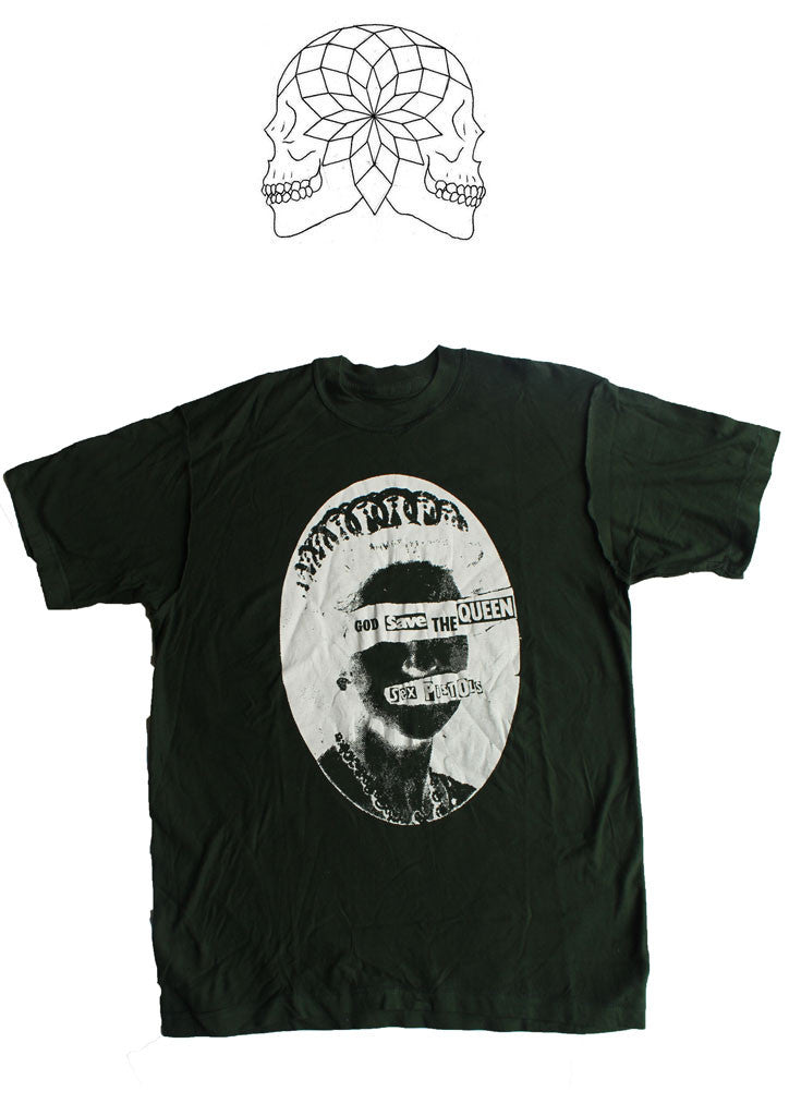 Sex Pistols God Save The Queen - Dark Green T-shirt Med 38""