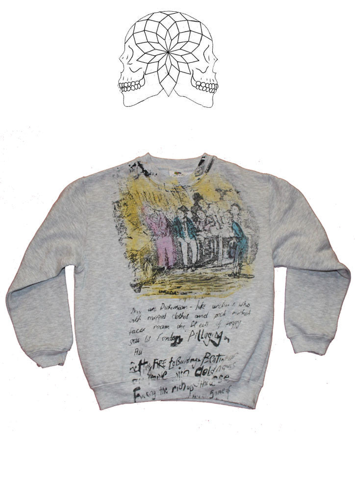 "Seditionaries Punk Dickens Sweatshirt -Oliver Twist Sweater - Double Print - Extra Small 32"" teen petite"