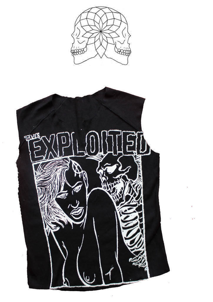 "The Exploited Vest - Punk Band - Black Sleeveless Tank T-shirt 34""-36"""