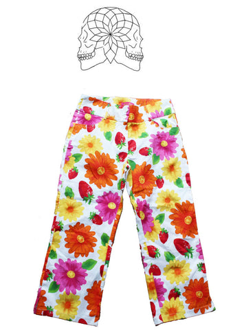 Vintage Bold Floral Cropped Trousers