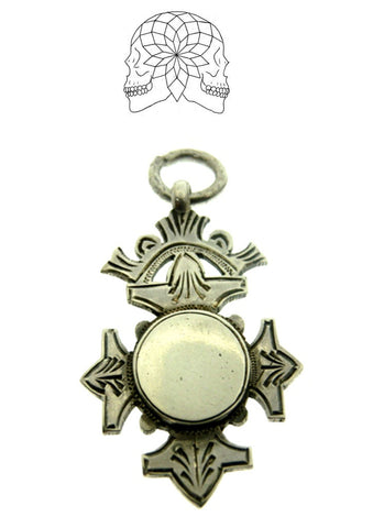 Vintage Sterling Silver Cross Fob - c.1927