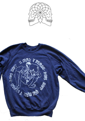 Honi Soit Threesome Sex Punk Sweatshirt - Navy Jumper Small 36""