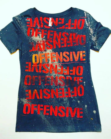 Offensive punk slogan distressed t shirt
