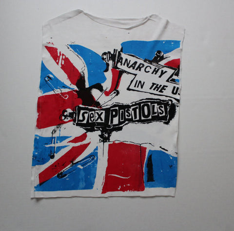 Anarchy In The UK Sleeveless Shirt - Raw Edge Rough print -Sex Pistols Punk Union Jack Flag-L, XL