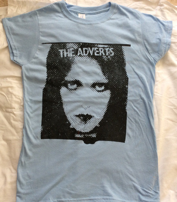 "The Adverts T-shirt - Gaye Advert British Punk Tee Light Blue fitted 34""-36"""