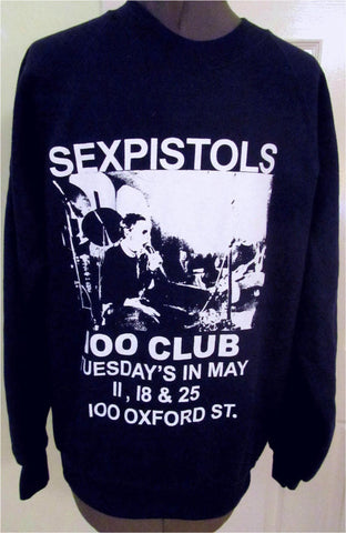 SEx Pistols 100 Club Sweatshirt Punk Gig print Jumper XSm, Small