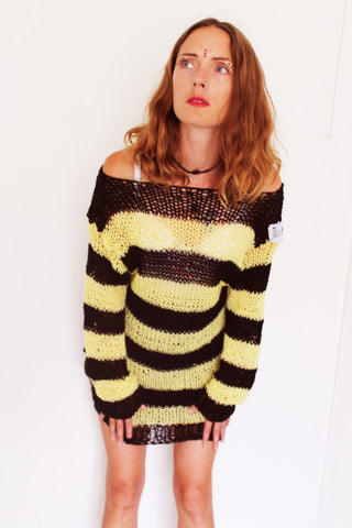 Punk Cobweb Jumper Yellow and Black Striped Hand knit Sweater One Size