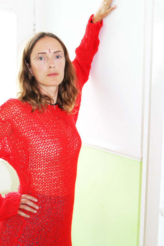 Punk Cobweb Jumper Red Oversized Loose Knit Sweater - one size