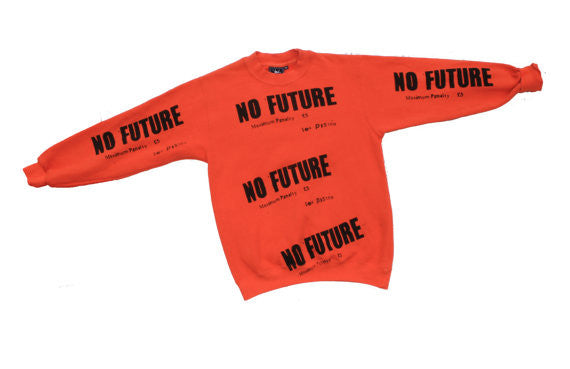"No Future Sex Pistols Sweatshirt- Orange - XSm 32""-34"""