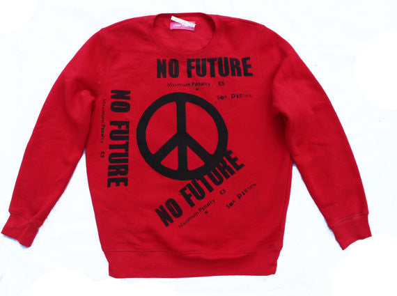 Sex Pistols No Future Sweatshirt Peace symbol Red Jumper L40""