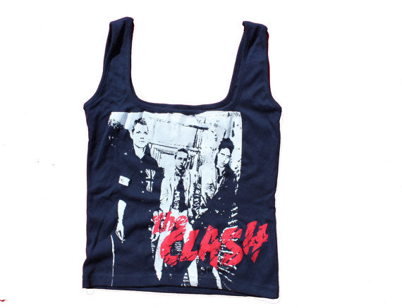 The Clash Vest - London Calling Punk Sleeveless Navy Tank Top 36""