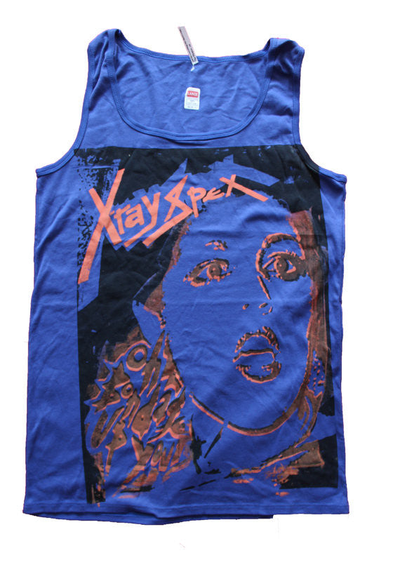 Xray Spex blue VEST Bondage Up Yours Poly Styrene Top L, XL