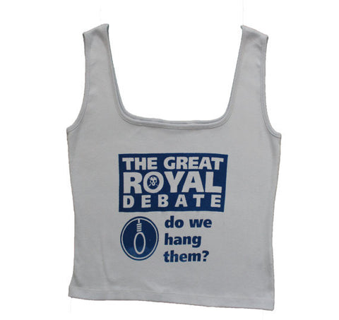 "Great Royal Debate Punk Vest-Hang or Shoot? Light Blue Vest Top -womens 40"" UK14-16"