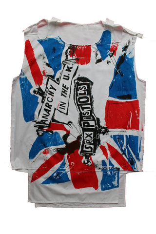 Anarchy in the UK Punk Bondage Vest Sex Pistols Union Jack Flag print Muslin Shirt M 38""