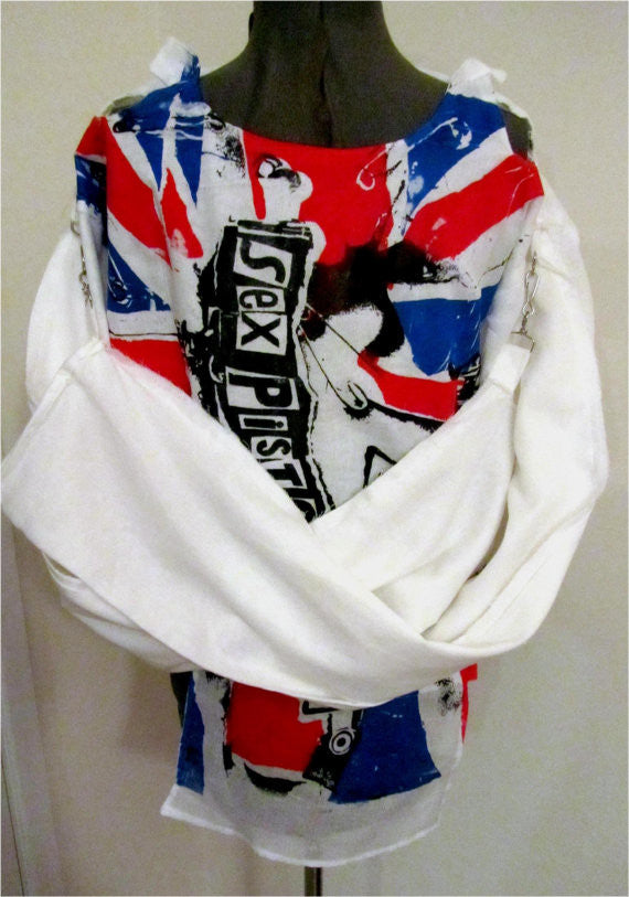 Sex Pistols Bondage Shirt -Anarchy in the UK-Union Jack Punk Flag- Muslin Straight Jacket