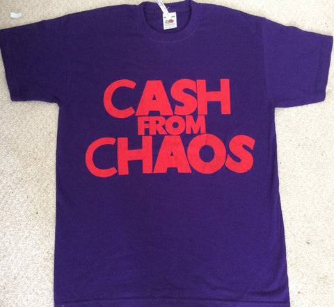 "Cash From Chaos - Classic Seditionaries Punk T-shirt - Purple Tee Sm36"" - Med 38"""