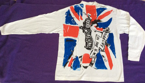 Anarchy In The UK Sex Pistols Punk Union Jack Flag -Long Sleeve Shirt XL 42-44""